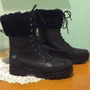 NWOT Ralph Lauren fur top leather boots
